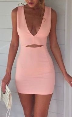 Deep V Mini Dress,Midriff Prom Dress,Pink Prom Dress,Fashion Prom Dress,Sexy Party Dress, 2017 New Evening Dress