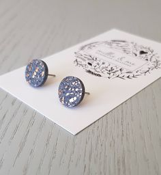 Polymer clay earrings/ granite and copper clay stud earrings/