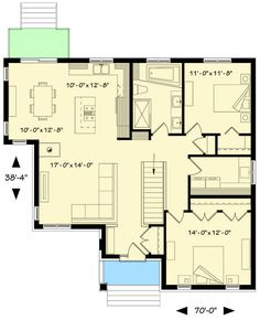 Discovery 2 Bedroom 1 Bathroom Home Plan Features Open Concept Great Room Kitchen Dining Room