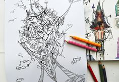 Coloring book in process # Adult Coloring, Coloring Books, Art Therapy, Book Design, Surrealism, Crafts, Simple Drawings, Adult Colouring In, Vintage Coloring Books