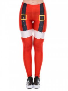 c188965f90b7 Womens Santa Christmas Leggings Funny Costume Tights