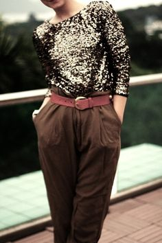 Something I probably won't like later: high-waisted slacks with colored belt and sparkle top