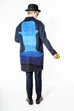 Hometown: Seoul, South KoreaDescribe your senior collection in two words: Dreaming, René Magritte.Are there any special techniques incorporated into your designs? The Magritte-inspired inserts are made with my own fabric that I machine-knitted using a weaving technique. - Photo: Courtesy of the Rhode Island School of Design