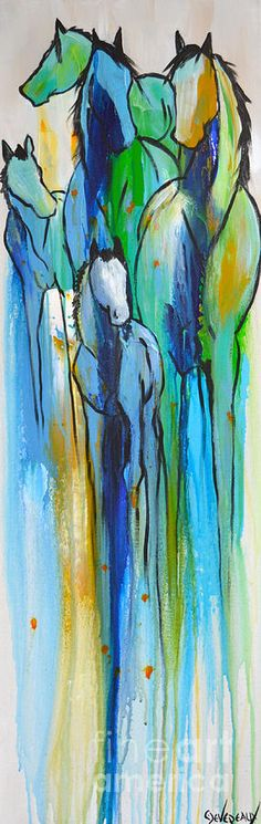 Blue Drip 2 Painting by Cher Devereaux