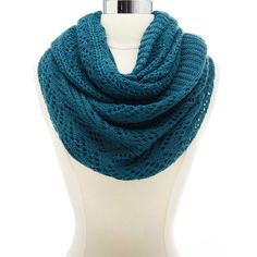 Charlotte Russe Open Knit Infinity Scarf (€12) ❤ liked on Polyvore featuring accessories, scarves, teal, knit scarves, circle scarves, knit tube scarf, infinity scarves and knit circle scarf