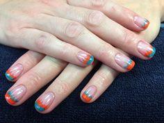 Caroline's nails. Orange and teal flames gel nail art.