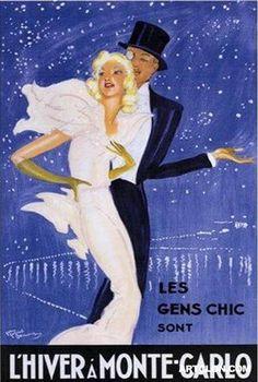 L'Hiver a Monte Carlo - Vintage travel poster by Jean Gabriel Domergue. #riviera #beach www.varaldocosmetica.it/en