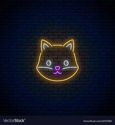 neon fox cute sign vectorstock light kawaii background glowing icons instagram