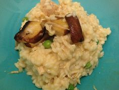 Applewood smoked cheese, chicken and mushroom risotto