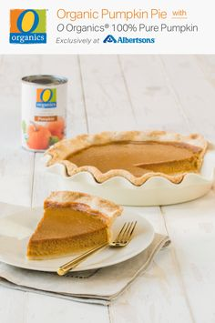 You MUST try this homemade pumpkin pie recipe, featuring O Organics® 100% Pure Pumpkin, found exclusively at your local Albertsons! With just the right amount of pumpkin spice (and everything nice), this made-from-scratch dessert is totally organic and totally delicious! You can't go wrong with this classic holiday treat made with flavorful notes of maple syrup, cinnamon, nutmeg and ginger! Homemade Pumpkin Pie, Pumpkin Pie Recipes, Pumpkin Puree, Veggie Recipes, Pumpkin Spice, Cooking Recipes, Crisp Recipe, Christmas Sweets, Food Allergies