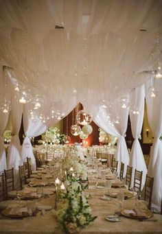 Draping and hanging globes with tea lights give an intimate feel to a long table ~ http://www.modwedding.com/galleries/reception-decor/