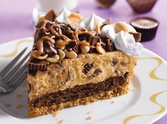 """ahhhhhh this is literally the best pie in the world, i loooove it soooooo much !!!!!!!!!!!!!""""Bakers Square Chocolate Peanut Butter Cup: Our peanut graham cracker crust layered with dark chocolate French Silk and chunky peanut butter cup silk.  Topped with whipped cream, peanut butter cups and roasted peanuts all drizzled with chocolate ganache and caramel."""" ahhhhhhhh"""