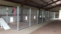 Our indoor kennels, VHR Ranch A good household run can be a home for the dog that might also from ti K9 Kennels, Dog Boarding Kennels, Dog Kennel Designs, Kennel Ideas, Dog Grooming Shop, Grooming Salon, Pet Shop, Building A Dog Kennel, Dog Kennel Cover