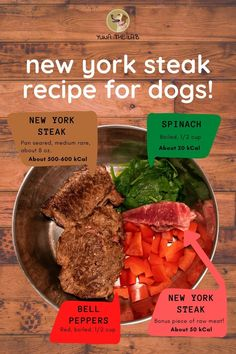 What could your dog possibly like better than a juicy piece of New York Strip steak, complete with some boiled spinach and bell peppers? We don't recommend feeding this to your dog often, but it's always great to treat them every once in a while.  #yunathelab #dogfood #dogfoodrecipes #petfood #nysteak #nystrip #dogfoodie #dogtips #dogcare