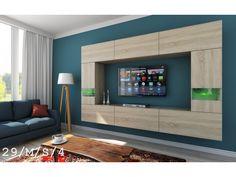 Meblościanka LEJDA C29 mat - Nowość sklepmeble    #furniture #meble #madeinpoland #design #LED #wallunit #TVset #salon #livingroom #geometry #wood #sonoma #sklepmeble