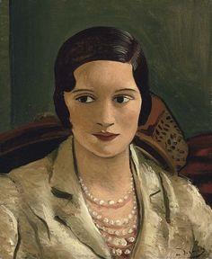 andré derain(1880-1954), portrait de femme au collier, ca 1934/1939. oil on canvas , 45.7 x 37.8 cm. private collection http://www.artvalue.fr/auctionresult--derain-andre-1880-1954-france-portrait-de-femme-au-collier-1529979.htm