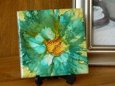 Alcohol ink ceramic tile flower picture, one of a kind tile art