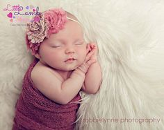 Newborn Girl Baby Headband in Dusty Pink Shabby by littlelambshop, $8.68