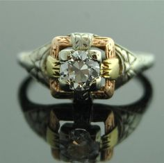 Antique Diamond Ring  18k Yellow White and Rose by SITFineJewelry,
