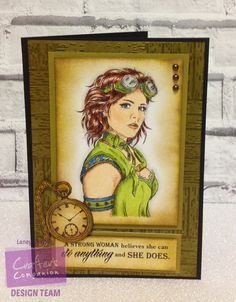 Card made using Sheena Douglass Time Travellers stamp set 'Steampunk Woman' with Spectrum Noir ColourBlend pencils. Designed by Laney Delaney. #crafterscompanion #spectrumnoir