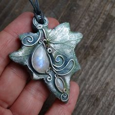 Leaf Pendant  Moonstone necklace