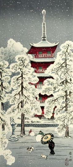 Takahashi Shotei -- Pagoda and Trees in the Snow (Yuki no tô) - Harvard Art Museum