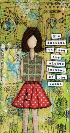 Serendipity Girl Art Mixed Media Collage by AsYouWishStudios, $39.99