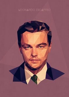Low Poly of Leonardo DiCaprio Pose Portrait, Vector Portrait, Portraits, Art And Illustration, Illustrations, Low Poly, Polygon Art, Grafik Design, Art Plastique