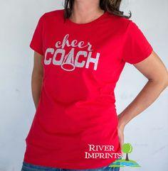 CHEER COACH, glittery sparkle tee shirt