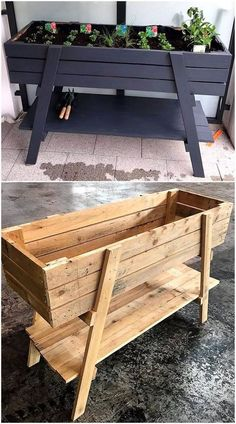 It is the heartiest wish of everyone to have the delicate planter structure at h. It is the heartiest wish of everyone to have the delicate planter structure at home in which he/she can grow beautiful flowers and fresh plants. Wooden Pallet Projects, Diy Pallet Furniture, Wooden Pallets, Furniture Ideas, Painted Furniture, Pallet Wood, Antique Furniture, Pallet Garden Projects, Rustic Furniture