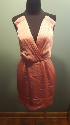 BCBGeneration Pink Coral Pleated Sleeveless Black Elastic Strap Satin Dress 0  #BCBGeneration #Sleeveless #EveningOccasion #daystarfashions $15.95