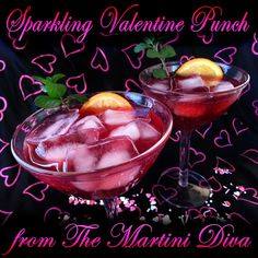 Enjoy my Sparkling Pomegranate Valentine Punch with a loved one today! Pomegranate Juice, Cranberry Juice, Happy Valentines Day, Punch Bowls, Martini, Holiday Recipes, Good Food, Alcohol, Cocktails