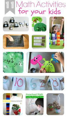 11 Fun Math Activities For Kids - Love this site and the activities are unique and simple enough that I would actually do them!