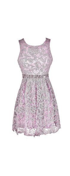 Embellished Story Rhinestone Lace A-Line Dress in Lavender  www.lilyboutique.com