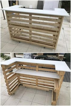 pallet ideas Are you ready to surprise everyone at your home with the heart-winning designing of an ideal pallet wooden counter? This is one of the latest wooden counter design that you c Pallet Furniture Designs, Pallet Garden Furniture, Recycled Furniture, Bar Furniture, Recycled Wood, Garden Pallet, Furniture Stores, Pallet Furniture For Outside, Furniture Plans