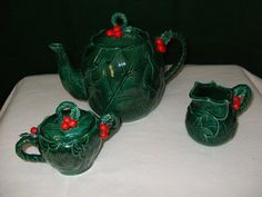 Hey, I found this really awesome Etsy listing at https://www.etsy.com/listing/168514554/lefton-green-holly-tea-set