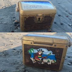 Treasure Chest painted cooler! #treasurechest #paintedcooler #fraternity #coolerideasforguys #coolerideas #nautical #sorority #beer #acrylic #tropical #acrylic #summer