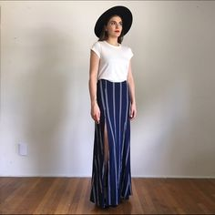LULU*S Ivory & Navy Blue Striped Maxi Skirt LULU*S Line All Mine Ivory and Navy Blue Striped Maxi Skirt. Size Small. New without tags! Super cute with just about anything this season Lulu's Skirts Maxi