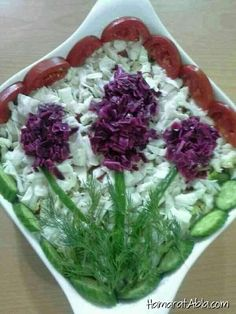 Salad 》》art of ♡ mizna♡ Cute Food, Good Food, Yummy Food, Food Design, Amazing Food Decoration, Fruit Recipes, Cooking Recipes, Veggie Platters, Food Sculpture