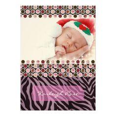 Purple Zebra Print Birth Announcement