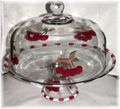 Cherries Cake Dome Cake Stand With Dome, Cake Dome, Cake And Cupcake Stand, Cherry Kitchen, Red Kitchen, Cake Carrier, Dessert Aux Fruits, Cherries Jubilee, Cherry Cake