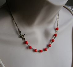 Sparrow Necklace Red Beaded Necklace by lakeshorecreations4u, $24.00
