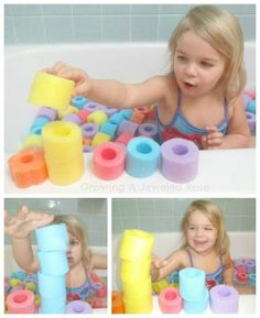 Swimming in oodles of noodles. She cut 4 noodles and dumped them in the tub. To sneak in math have them stack the same colors and count them, sort colors in piles and see which color has the most, practice patterning.