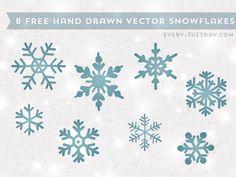 8 Free Vector Snowflakes