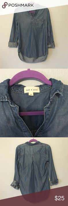 Cloth and Stone Anthropologie jean shirt Chambray/Jean long sleeve shirt. Good used condition. No holes or stains. Does have a slight sign of wear. Mostly around the stitching due to washing. Anthropologie Tops Button Down Shirts