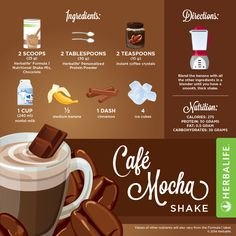 Cafe Mocha Shake Recipe  If you want a quick, delicious  meal, you'll get them when you reach for an Herbalife Formula 1 shake. You can get your formula 1 at herbal1shop.com. I hope you enjoy it *Know you can substitute the nonfat milk for silk, organic, almond, lactose free, or milk powder. If you prefer fresh fruits instead frozen fruits you could use the fresh fruits what I would do is cut them with anticipation and froze them for few hours so they can be frozen all the way through.