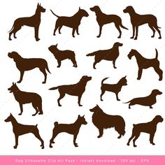 Dog Clip art Dog Silhouette Digital Clipart by inkanddot on Etsy