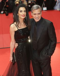 The main man and his leading lady: Amal Clooney and her husband George led the glamour in sensational style at the Berlin Film Festival which doubled up as the Hail, Caesar! premiere on Thursday evening