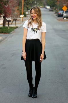 Bulldog tee, skater skirt & ankle booties