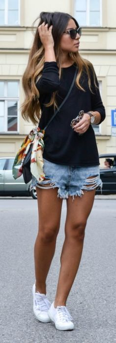 Go casual with these distressed denim shorts topped off with a cute black sweater!  https://www.shopprice.com.au/women+jeans